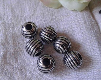 set of 10 large spacer beads, silver tone plastic