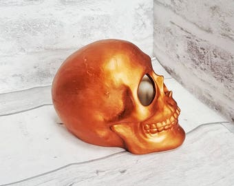 Copper Ceramic Skull, Unique Gothic Gift, Acrylic Paint, Hand Painted Ceramics, Skulls lover, Home Decor Ornament, Weird and Wonderful