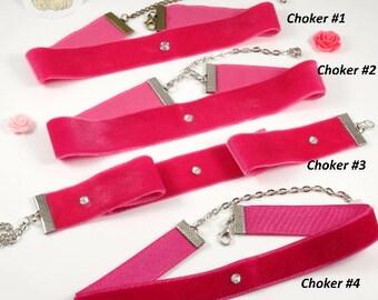 Wide Pink velvet choker Bright pink choker 90s choker cute choker trendy choker chic choker Swarovski choker Pink Choker Best Friend Gift