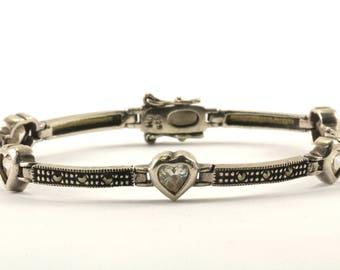 Vintage Heart Design Marcasite Bracelet Sterling Silver BR 3091