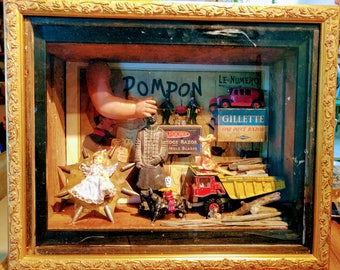 Handmade diorama constructed using antique and vintage items