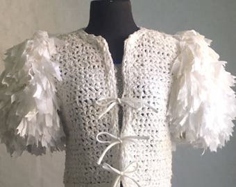 Vintage poof sleeve white crotchet sweater from the 1980s