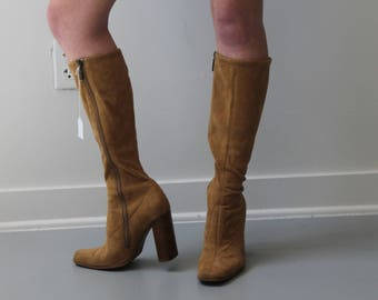 Tall Vintage 70s/80s Faux Suede High Heel Boots Calf length Size 8