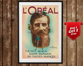 L'Oreal Funny Vintage Ad - French Vintage Cosmetics Poster, LOreal Print, LOreal Poster, Beard Print, Beard Poster, Vintage L'Oreal
