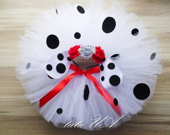 dalmation tutu, dalmation tutu costume, 1st birthday outfit, speacial ocassion tutu skirt, photo prop tutu, Disney's 101 Dalmatians