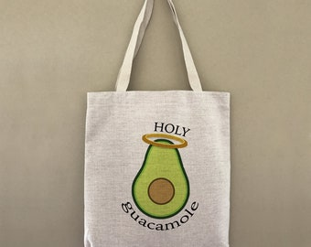 Custom Tote Holy Guacamole Customizable Personalized Gift For Her Gift For Him Shopping Bulk Farmers Market Avocado Angel Halo