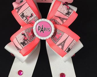 White and Neon Pink Eiffel Tower rhinestone hair bow for girls teenagers...