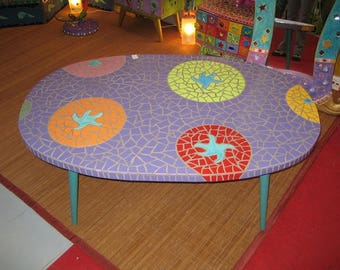 "low 123x82cm xh:47 cm - oval ""smarties"" mosaic table"