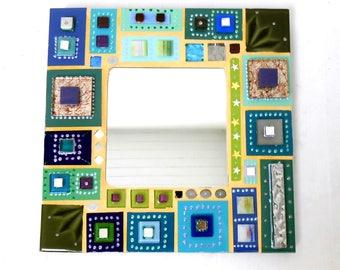 """Mosaic mirror """"Blue"""" 30 X 30 cm"""