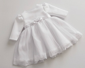 AMY baptism dress, long sleeve christening dress, long sleeves baptism dress, white baby dress long sleeve, christening dresses for baby