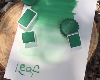 Leaf. Half pan, full pan or bottle cap of handmade Leaf green watercolor paint