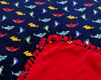 Multi Color Sharks Fleece Tied Blanket