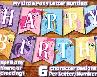 Printable My Little Pony Birthday Decoration / My Little Pony Banner Decor Instant Digital Download Birthday Bunting Banner Twilight Sparkle