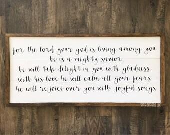Zephaniah 3:17//Wooden Sign