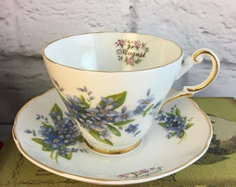 August Violets Royal Castle Tea Cup and Saucer Flowers of the Month Fine Bone China Vintage Staffordshire England Made Lovely EVC
