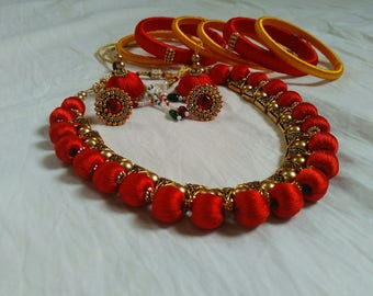 Silk Thread Indian Jewellery Set (Necklace, Earrings, Bangles)