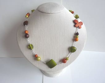 Necklace long mid orange green and Brown