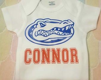 UF,  U of F, University Of Florida, Florida Gators, Gators, Gator, Gator Football, Personalized, Gator Onesie or Tee,