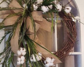 Farmhouse wreath, cotton wreath,  rustic wreath, greenery wreath, cotton boll wreath everyday wreath   fixer upper wreath, front door wreath
