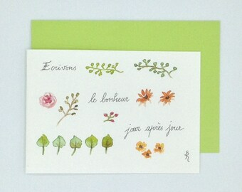 """Map double watercolor with quote """"Herbarium"""""""