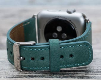 Sea green leather Apple watch band, 42mm, 38mm, Leather watch band, Apple watch strap, iwatch band, Apple watch leather band, iwatch strap