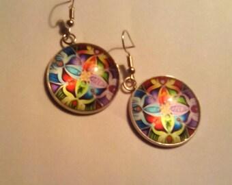 Colorful Flowers 25mm Dangle Earrings