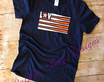 Astros Flag Shirt, Houston Astros Shirt, Astros Shirt, American Flag Baseball Shirt, Baseball Shirt, Houston Astros