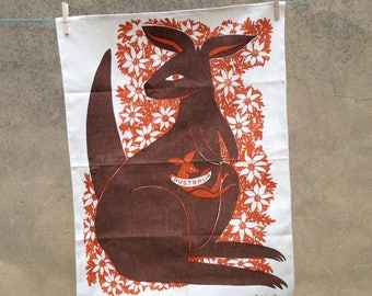 Vintage handprinted Rodriguez kangaroo linen tea towel