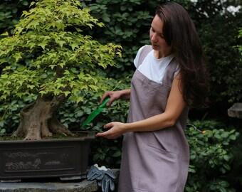 Japanese apron, Linen woman apron, Linen Pinafore Apron, Long apron, Natural apron, Comfortable apron, Linen Apron Dress, full apron