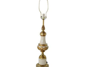 1960's Hollywood Regency Stiffel Table Lamp, Stiffel Table Lamp, Hollywood Regency Table Lamp, Brass and Enamel Vintage Table Lamp, Antique.