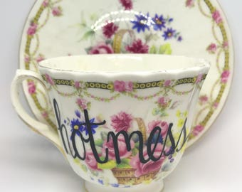 FREE SHIPPING - Cheeky China, Hot Mess Floral Tea Cup & Saucer