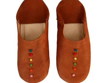 Babouche Tan Colorful Dots Slippers