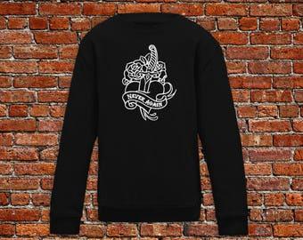 Never again sweater, broken heart, heart tattoo, tattoo sweater, classic tattoo art, old school sweater, hipster gift, gift for tattoo lover