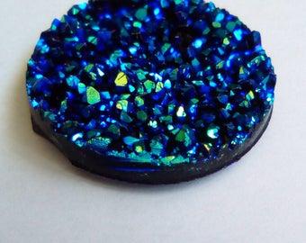 resin 5 cabochons 30mm blue druzy
