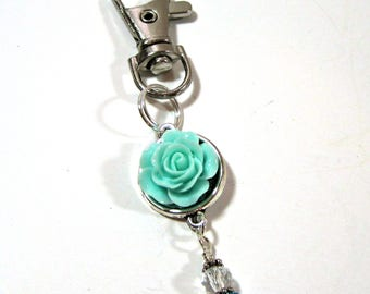 Aqua Rose Beaded Planner Charm - Erin Condren Planner Charm - Purse Charm - Zipper Pull - TN Charm - Travelers Notebook Charm