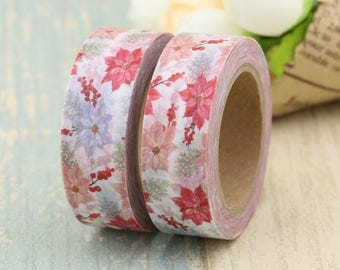 Washi Tape - Decorative Tape - Paper Tape - Planner Tape - Christmas Washi Tape -Poinsettia Washi - Deco Paper Tape - Planner Washi