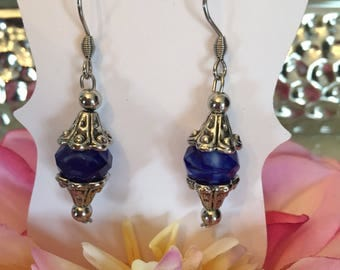 Blue dangled earrings