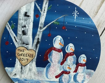 Family Christmas ornament - Personalized Family Christmas Gift - Custom Family Ornament - Personalized Christmas Gift for Family - snowman