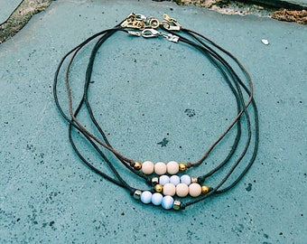 Triple Pearl Blue & Beige Chokers