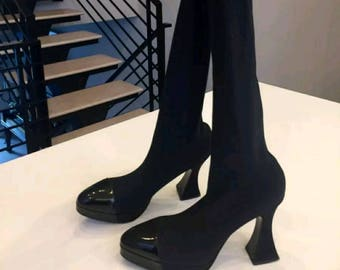 CHANEL stocking boot. Thigh high