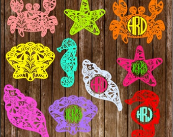 Monogram Decals / Sea life / car decal / computer decal
