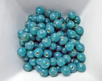 10 pearls 7mm turquoise Indian
