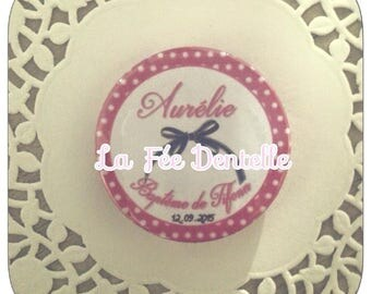 10 X Badge personalised name + date and event 58mm