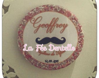 Badge personalised name + date and event 58mm