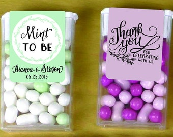 CUSTOM Mint To Be Tic Tac Labels -  Wedding Favors label pastel- Hand lettered- custom personalized sweet simple - Printable Printed