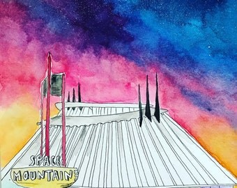 Space mountain painting / disneyland watercolor / modern art / colorful