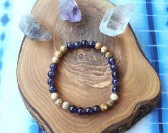 Amethyst + Picture Jasper gemstone bracelet