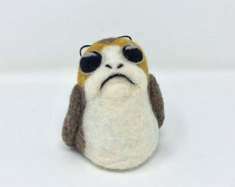 Porg Star Wars Needle Felt Figure, Frown Face