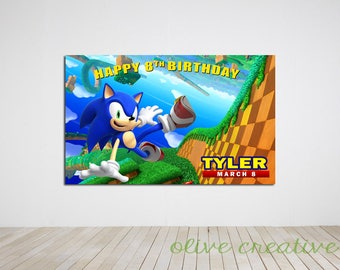 Digital file only - Sonic Birthday Party Banner, Sonic Birthday Party Back Drop, Sonic Printable Digital Copy
