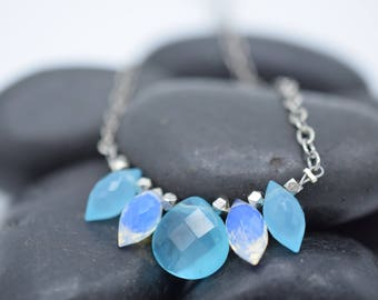 Blue Quartz and Iridescent Faceted Quartz Sterling Silver Chain Neckace 16.5""